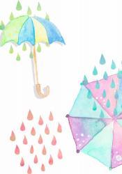 傘を差して雨宿り
